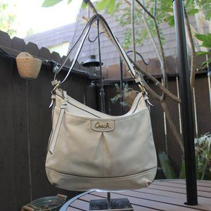 Coach Shoulder/Crossbody White Leather Hobo Bag